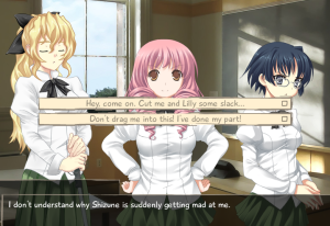 This is your average visual novel screen, complete with the always difficult choice of which girl to fall in love with! (Although in this one it's easy, Shizune is horrible.)